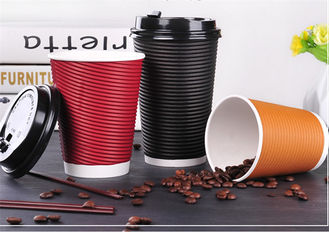Eco Friendly Ripple Wall Paper Cup With Offset / Flexo Printing